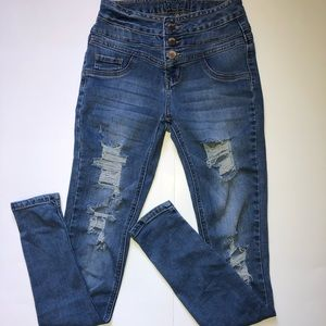rue 21 high waisted ripped jeans! medium wash